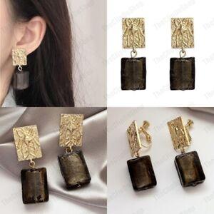 CLIP ON scarab GLASS EARRINGS murano square bead GOLD FASHION non-pierced RETRO