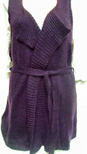 Autograph Winter in Paris LONG knit waistcoat cardigan sweater VEST Belt L 20 22