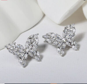 2Ct Marquise Diamond Cluster Butterfly Stud Earrings 14K White Gold Finish