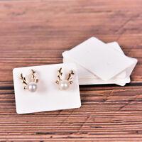 100Pcs Blank Earrings Ear Studs Display Card Hanging Tags Kraft Paper Jewelry SP