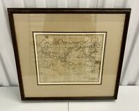 A Chart Of The World Copper Engraving Print Captain Cook 1794 Framed