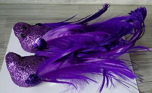 2 er Set Vogel a.Clip-lila Glitter-Christbaumschmuck--Vögelchen--Baumschmuck