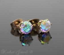 6MM AURORA SIMULATED DIAMOND 14K ROSE GOLD IP STUD MENS WOMENS GIRLS EARRINGS