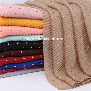 Womens Ladies Crinkle Cotton Scarf Gold Glitter Muslim Hijab Oversize Shawl Wrap