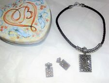 Brighton Vintage Leather & Silver Flower Choker Necklace+Earrings+Heart Tin