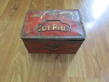 UNION LEADER TOBACCO TIN CUT PLUG SMOKING LUNCH BOX CAN VINTAGE ANTIQUE 1900'S
