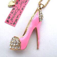 Betsey Johnson crystal/Pink enamel  Pretty high heels pendant Necklace#332L