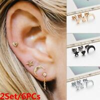 2Set/6PCs Punk Tiny Ear Stud Jewelry Earrings Set Moon Star Heart