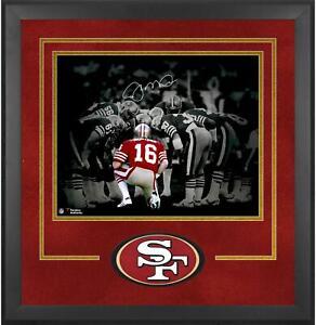 "Joe Montana San Francisco 49ers Dlx Frmd Signed 16"" x 20"" Huddle Spotlight Photo"
