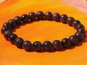 Para Hombre//Damas Hecho a mano con cuentas pulsera de piedras preciosas de Calavera 8mm-Natural Jaspe Rojo.