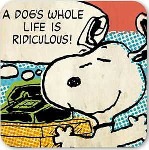 Snoopy A dog's Whole Life Is Ridiculous single cork-backed drinks coaster (lsh)