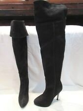 930bc2dc213 MODA IN PELLE BLACK SUEDE OVER KNEE PULL ON HIGH HEEL BOOTS UK 5 EU 38