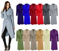 Womens Italian Long Duster Jacket Ladies French Belted Trench Waterfall Coat