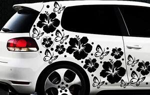 108- teiliges Auto Aufkleber Hibiskus Blumen Schmetterlinge HAWAII WANDTATTOO bx