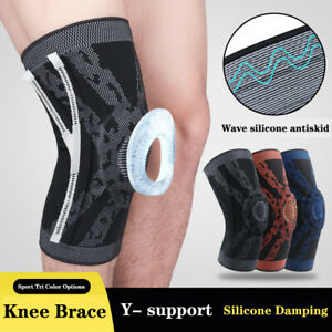 Knee Support Pad Silicone Spring Knitted Sports Support Brace Patella Protector