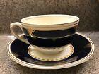 GRINDLEY Creampetal England CHANDOS cobalt blue gold gilt Art Deco cup & saucers
