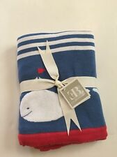 Elegant Baby Boy Whale Knit Blanket Blue White Red Layette Nautical