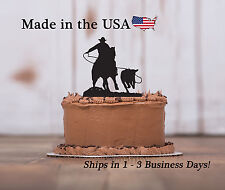 Cow Roping Birthday Cake Topper, Farm Life, Bull Riding, Calf, Keepsake - LT1149