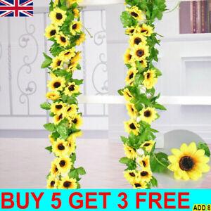 8.5ft Artificial Sunflower Flowers Garland Ivy Silk Leaf Plants Garden Home Deco