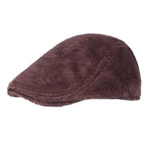 Men Women Winter Warm Velvet Berets Hat Outdoor Solid Color Golf Newsboy Cap