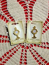 """New """"  TWO MONSTRANCE"""" LAPEL PINS Heavier Quality-ENAMEL CENTER  EXCELLENT 2""""H"""