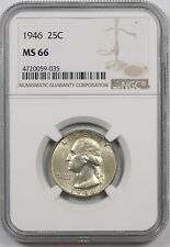 1946 25C NGC MS 66 Washington Silver Quarter
