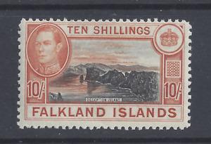 FALKLAND ISLANDS GVI 1938  10s. BLACK AND ORANGE-BROWN MINT NEVER HINGED  SG 162