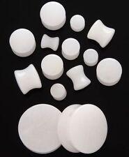1 Pair 2g Organic Snow White Quartz Stone Saddle Plugs Double Flared Ear Gauges