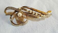 Gold colour & seed pearl vintage Art Deco antique brooch