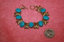 Vintage X & O Hugs & Kisses Mexico Turquoise Link Toggle Bracelet