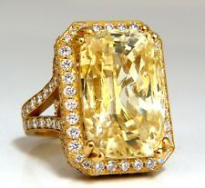 GIA Certified 44.24ct Natural No Heat Yellow Sapphire diamonds ring 18kt