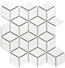 Mosaik Fliese Keramik weiß 3D Würfel uni weiß glänzend WB13OV-0101