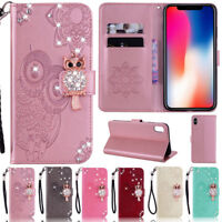 For iPhone 11 Pro 7 8 Plus X XR XS Max Bling Owl Wallet Leather Flip Cover Case