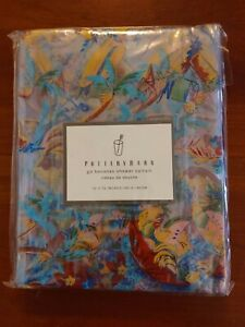 "NEW Pottery Barn Shower Curtain 72Lx72W"" Go Bananas Clear Printed Tropical Theme"