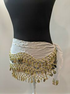 Belly Dance bellydance hipscarf coin scarf white chiffon with gold coins
