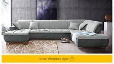 Sofa Grau Ecksofa Wohnlandschaft U-Form Couch Garnitur mit Kissen