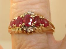 BEAUTIFUL 10K SOLID GOLD APPROX. 1/2 CTW RUBY AND DIAMOND RING! SZ 6 1/2