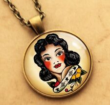 Sailor Jerry Necklace, Pinup Girl Rockabilly Pendant Tattoo Punk Gothic