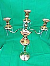 Handmade Metal Candelabra 5-Arm Crystal Drops Gold Home Decor Wedding 50x50x76cm