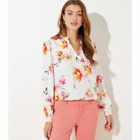 New Loft Womans Floral Blossom Split Neck Blouse Sz Medium NWT