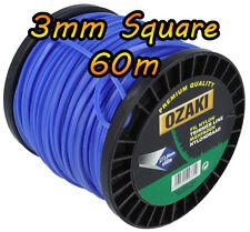 60m - 3mm Square - STRIMMER Cord Line Wire String Nylon - HEAVY DUTY