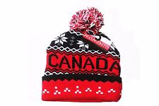 CANADA RED BLACK WITH WHITE SNOWFLAKES TOQUE HAT  WITH POM POM..NEW