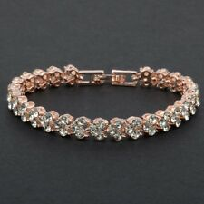 Beautiful Rose Gold Plated White Cubic Zirconia Crystal Tennis Bracelet