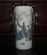 Old Rare Famille Rose Chinese Porcelain Hat Tube Vase H11.02