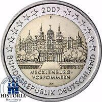 Deutschland Schweriner Schloss 2 € Gedenkmünze 2007 bankfrisch Mzz F Stuttgart