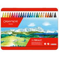 Caran d'Ache Fibralo 24 Fibre Tipped Felt Pens Artist Color Marker Metal Tin Set