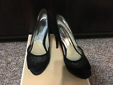 MICHAEL Michael Kors Zamara Open-Toe Suede Pump - Black - Size 6 (US) -MSRP $180