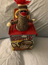 """SCHYLLING SOCK MONKEY JACK IN THE BOX POP GOES THE WEASEL 5.5"""" TALL"""