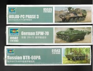 trumpeter spw-70  btr-60pa  aslav-pc phase 3  1/35 scale model kit  new