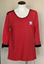 UG Apparel Jersey Knit Top Red Black Nebraska Cornhuskers 3/4 Sleeves Women's L